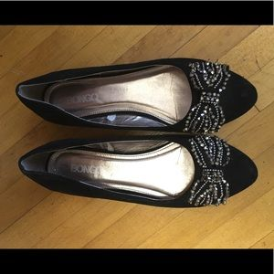Black ballet flats with gold beading